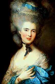 Hairstyles in Rococo times were very elaborate, often wigs decorated with all manner of ribbons, silk flowers and sometimes even tiny false birds in miniature cages, or small model ships! When one didn't wear a wig, hair was put in a swirled updo with several curls coming down at the side. This hairstyle is of the mid-1700s