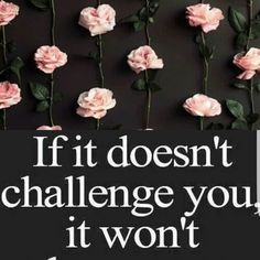 """""""If it doesn't challenge you, it won't change you.""""  Aries asthetic and roses"""