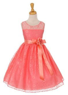 Coral Lace Flower Girl Dress with Open Back