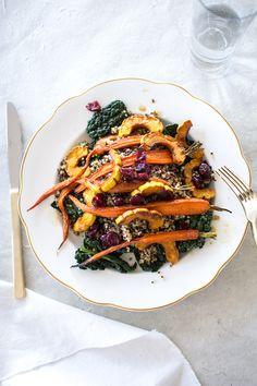 Kale and Quinoa Salad with Delicata Squash and a Maple Orange Dressing
