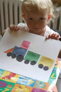 """Learn shapes by making this train. Classroom showcase by making multiple tracks throughout the classroom and each student choosing where their train will be. Follow up art for """" I knew you could"""" by Craig Dorfman"""