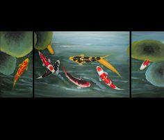Koi Fish Paintings Canvas Prints Modern Wall Art Décor