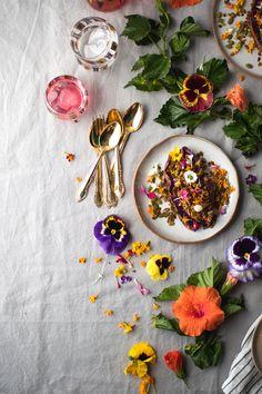 Breakfast Sweet Potato with Hibiscus Tea Yogurt & Turmeric Granola