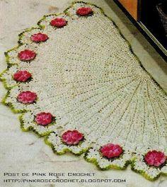 PINK ROSE CROCHET /: Tapete de Crochê_ Meia Lua com Flores