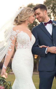 Mermaid Wedding Dress with Rich Beadwork : Courtesy of Essense of Australia wedding dresses; Wedding Dress with Lace Sleeves and V-Neck by Essense of Australia Essense Of Australia Wedding Dresses, Western Wedding Dresses, Dream Wedding Dresses, Designer Wedding Dresses, Bridal Dresses, Wedding Gowns, Lace Wedding, Elegant Wedding, Wedding Cakes