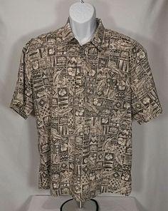 5bd6835d Tori Richard Honolulu Hawaiian Shirt Half Button Mens Size XL Palm Trees  huts #ToriRichard #Hawaiian