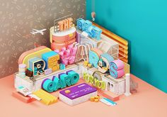 A stunning illustration that is a magazine spread for the Kiplinger Magazine located in Washington, DC. Designed by Pakistan-based Omar Aqil 3d Cinema, 3d Typography, Japanese Typography, Isometric Design, Magazine Spreads, 3d Studio, Ad Design, Graphic Design, Type Design