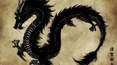 chinois dragon noir-Fond d'écran de style de cru - 1920x1080  Fond d'écran  Télécharger