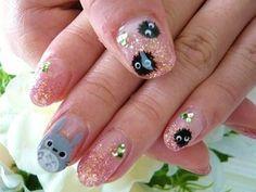 Eeeh so cute. Totoro, Acrylic Nail Designs, Nail Art Designs, Goth Nail Art, Comic Nail Art, Hair And Nails, My Nails, Asian Nail Art, Anime Nails