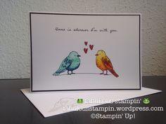 Stampin' Up! Color me happy stampin blends card love birds
