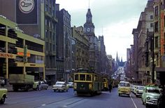 Another Bourke Street scene, this time from 1961. W-class trams rule and one can also see the Cromwell Building (north-west cnr of Bourke and Elizabeth Streets) still standing opposite the GPO. The unwelcome intrusion of a multi storey carpark can be seen on the left, and yes, hard to believe that it's still standing!