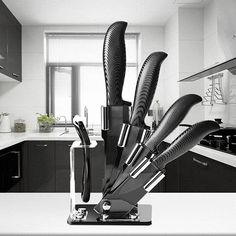 25 Pieces Black Blade Ceramic Knife Set Multi-function Ergonomic Chef Knife  #KCASA
