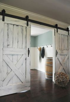 Nothing says farmhouse style quite like barnwood doors! We love these country-chic sliding doors for inside the home. Nothing says farmhouse style quite like barnwood doors! We love these country-chic sliding doors for inside the home. House Design, House, Interior, Home, Home Remodeling, House Styles, New Homes, House Interior, Rustic House