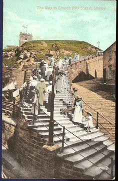 Lovely old photo of the 199 steps leading up to Whitby Abbey, Whitby, Yorkshire, England. The youth hostel I stayed in was at the top of these steps.