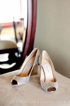 Jimmy Choo wedding shoes -- wedges will be easier to walk in!