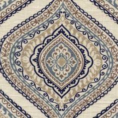 $26.95 Monica Wedgwood Blue Medallion Linen Look Fabric - Drapery Fabrics at Buy Fabrics