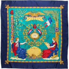 Pre-owned Hermes 1789 Liberte egalite Fraternite Silk Scarf ($245) ❤ liked on Polyvore featuring accessories, scarves, blue, hermès, hermes shawl, multi colored scarves, blue silk scarves and blue shawl
