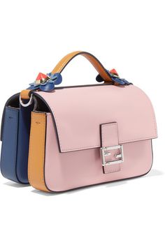 Pastel-pink, storm-blue and tan leather (Lamb), mushroom suede (Calf) Snap-fastening front flaps Weighs approximately 1.1lbs/ 0.5kg Made in Italy