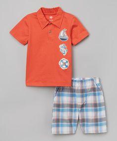Loving this Orange Sailboat Polo & Plaid Shorts - Toddler & Boys on #zulily! #zulilyfinds