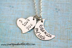 I Love You to the Moon and Back Necklace by youregonnalovethis, $18.00