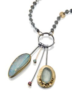 Cluster necklace with pastel-colored Boulder opal, aquamarines and faceted red sapphire. http://sydneylynch.com  #necklaces #opals #aquamarine