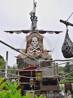Jump aboard this famous Jolly Roger-flying galleons for all hands on deck buccaneering explosion. Disneyland Park Adventureland