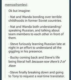 Cute, but Wanda isn'r russian, and can't speak it. If my memory serves right, she's Sokovian, so therfore she'd soeak Sokovia's native language.