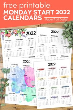 Lots of different Monday start 2022 one page year at a glance calendar designs to choose from and print for free. Free Printable Calendar Templates, Printable Planner Pages, Printable Wall Art, Free Printables, Print Calendar, Calendar Pages, Calendar Design, At A Glance Calendar, Paper Trail
