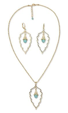 """Single-Strand Necklace and Earring Set with SWAROVSKI ELEMENTS, Gold-Plated """"Pewter"""" Focals and Gold-Finished Brass Chain"""