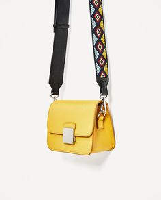 Image 4 of crossbody bag with multicoloured strap from zara purseszara Leather Purses, Leather Handbags, Leather Bag, Yellow Leather, Leather Shoulder Bag, Shoulder Strap, Satchel Handbags, Purses And Handbags, My Bags