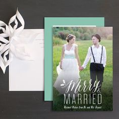 Merry and married newlywed holiday card perfect for sharing your favorite wedding photo and holiday wishes! Beautiful Wedding Invitations, Wedding Stationery, Christmas Photo Cards, Christmas Stuff, Holiday Wishes, Wedding Inspiration, Wedding Ideas, Newlyweds, Unique Weddings