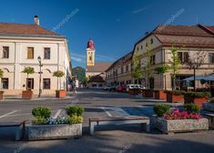 Central square of Baia Mare, the capital of Maramures County, Romania Central Square, Birds In Flight, Romania, Tourism, Stock Photos, Vacation, Mansions, Architecture, House Styles