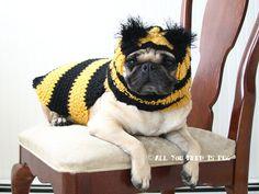 Bumble Bee Dog Clothing Gift Set - Dog Hat and Dog Sweater Set- Made to Order. $62.00, via Etsy.