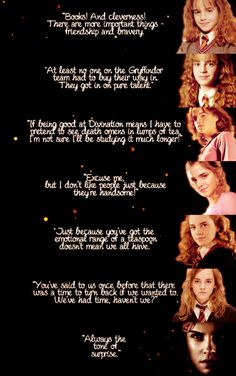 hermione granger, emma watson, quotes, harry potter -----------> Hermione's an awesome character 😁 Harry Potter World, Mundo Harry Potter, Harry Potter Love, Harry Potter Fandom, James Potter, Hermione Quotes, Harry Potter Quotes, Hermione Granger Funny, Dumbledore Quotes