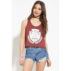 Forever 21 Women's  Out Of Your League Graphic Tank ($16) ❤ liked on Polyvore featuring tops, graphic tank tops, graphic tops, white top, scoop neck top and forever 21 tank