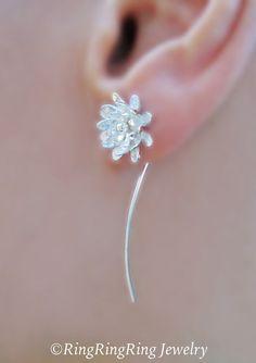 Indian lotus flower earrings sterling silver by RingRingRing