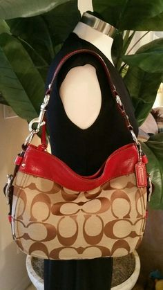 6f94ce30f9 COACH Zoe RED Signature Khaki Tan Brown Leather HOBO Bag Purse F12657  348   Coach