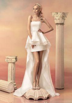 2016 A-Line Strapless Neckline Tiered Bowknot Chapel Elastic Satin Wedding Dresses 1511