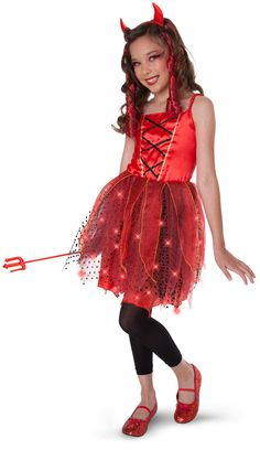 Dazzling Devil Light-Up Child/Tween Costume Includes dress, headband with devil horns and pitchfork. Weight (lbs) 0.46 Length (inches) 15 Width (inches) 10.5 Height(inches) 1.5