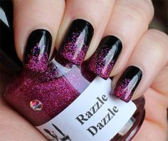 Black with Hot Pink Glitter Manicure by Lindsey's Lacquer. #nails #nailart #glitter #gradient #pink #purple