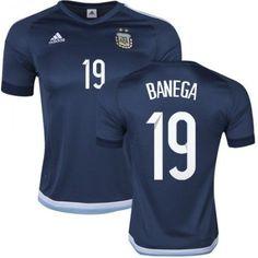 Argentina 2016 Banega 19 Borte Drakt Kortermet  billige  fotballdrakter Messi  10 ded81f88d