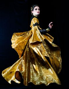 #Evgenia Luzhina 'Nostalgia'   'I saw a dervish appear, abruptly gold and startling! Swirling through the desert sands, she tugged memory from my mind. I thought of Persian Sultans, of palaces, of secretive folds...and wondered if her skirts and sleeves hid answers to the world....'  #avant garde couture #couture fashion #unique gowns #fashion week 2016