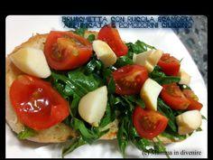 Bruschetta+con+rucola,+scamorza+affumicata+e+pomodorini+ciliegino Mamma, Caprese Salad, Bruschetta, Food, Essen, Meals, Yemek, Insalata Caprese, Eten