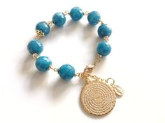 Padre Nuestro Our Father Prayer Bracelet Gemstone light blue Jade Bracelet Gold blue Bracelet Our father prayer gold filled charm catholic
