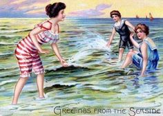 I love this postcard of the gals having fun together at the beach.