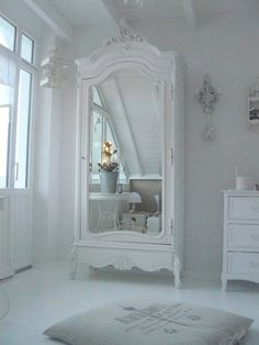Armoire Bedroom Whitewashed chippy shabby chic french country rustic swedish decor Idea. ***Pinned by oldattic ***.