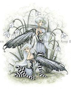 Snowdrop Fairies 8.5x11  PRINT by Amy Brown van AmyBrownArt op Etsy