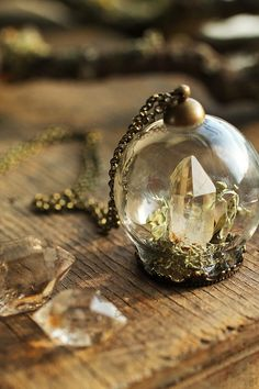 A stunning Herkimer diamond from the river valleys of New York nestles among a bed of real woodland lichen and moss inside a protective glass