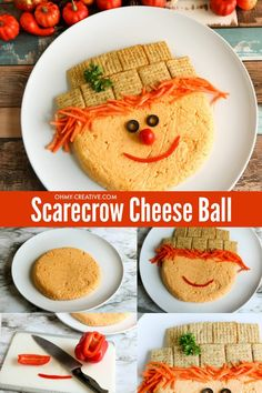 Make a really easy and festive fall appetizer. This scarecrow cheeseball is made with 3 different types of cheese for a cute snack! If you are looking for a really fun appetizer for Thanksgiving or another fall party, then this one is perfect! Everything on this adorable scarecrow fall recipe is edible. #fallrecipe #fallappetizer #thanksgivingappetizer #cheeseball #scarecrowfood Best Party Appetizers, Thanksgiving Appetizers, Yummy Appetizers, Fall Recipes, Dip Recipes, Holiday Recipes, Holiday Ideas, Best Comfort Food, Comfort Foods