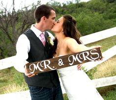 "Rustic Wooden Wedding Sign - ""Mr. & Mrs."". $20.00, via Etsy."